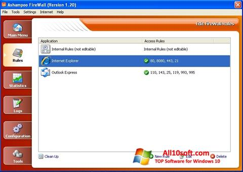 Képernyőkép Ashampoo Firewall Windows 10