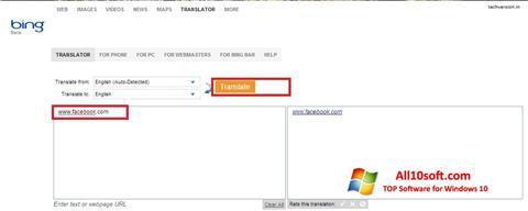 Képernyőkép Bing Translator Windows 10