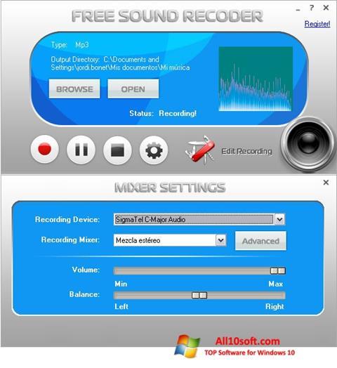 Képernyőkép Free Sound Recorder Windows 10