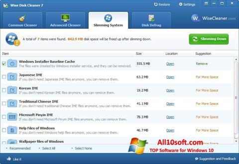 Képernyőkép Wise Disk Cleaner Windows 10