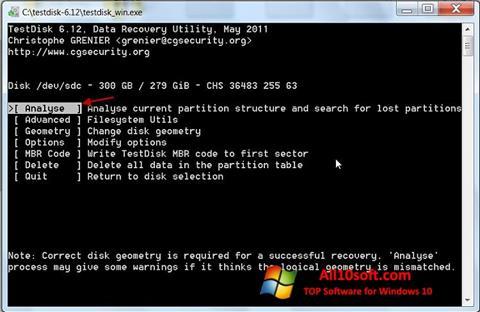 Képernyőkép TestDisk Windows 10
