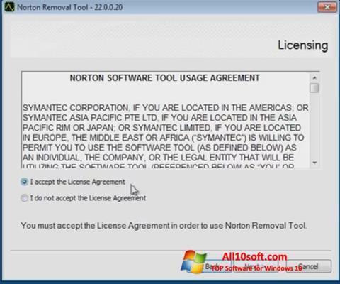 Képernyőkép Norton Removal Tool Windows 10
