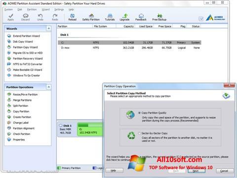 Képernyőkép AOMEI Partition Assistant Windows 10