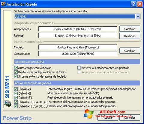 Képernyőkép PowerStrip Windows 10