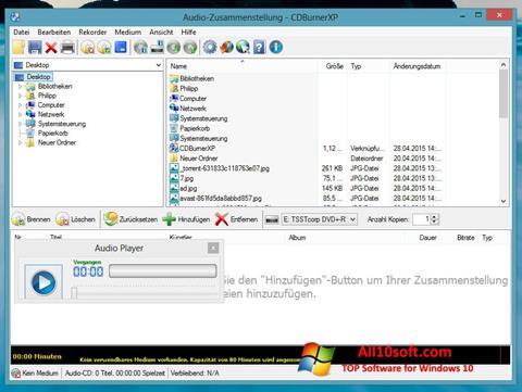 Képernyőkép CDBurnerXP Windows 10