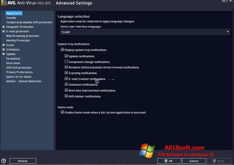 Képernyőkép AVG Windows 10