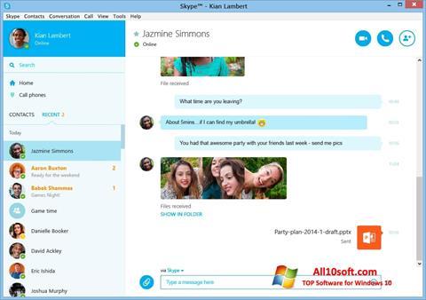 Képernyőkép Skype Windows 10