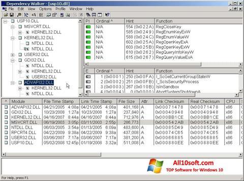 Képernyőkép Dependency Walker Windows 10