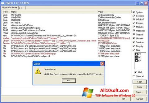 Képernyőkép GMER Windows 10