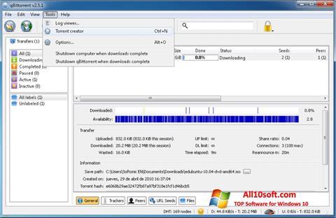 Képernyőkép qBittorrent Windows 10