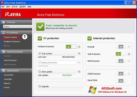 Képernyőkép Avira Windows 10