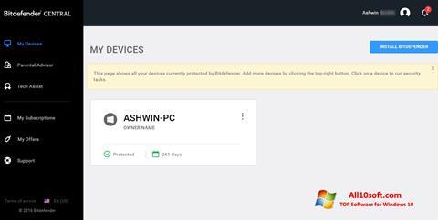 Képernyőkép Bitdefender Windows 10