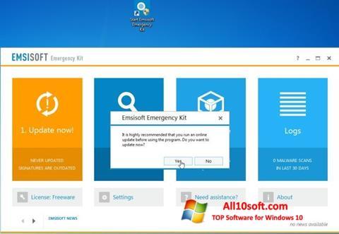 Képernyőkép Emsisoft Emergency Kit Windows 10