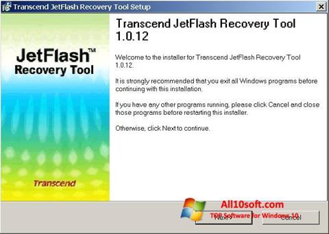 Képernyőkép JetFlash Recovery Tool Windows 10